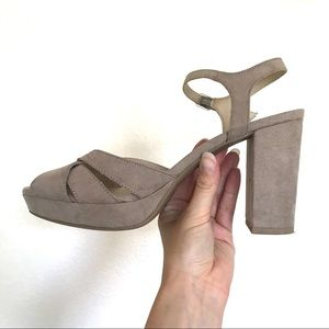 POP (JCPenney Brand) Chunky Taupe Sandal Heels